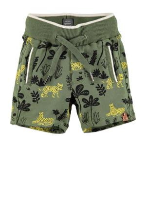 fleece regular fit sweatshort met all over print groen/geel