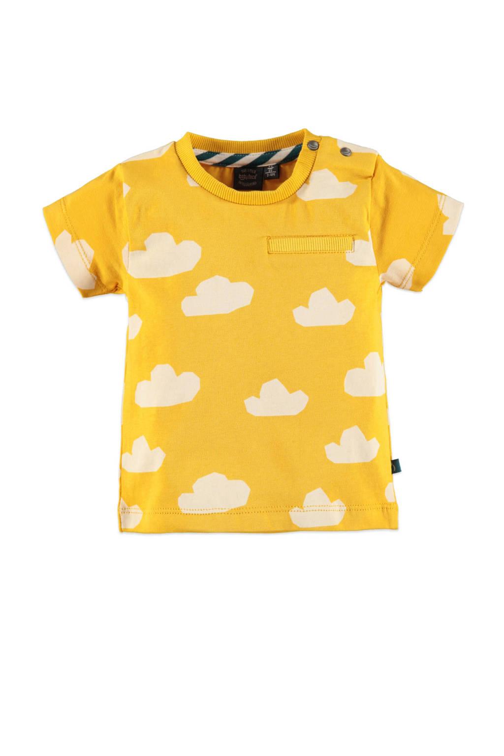 Babyface baby regular fit T-shirt met all over print geel/wit, Geel/wit