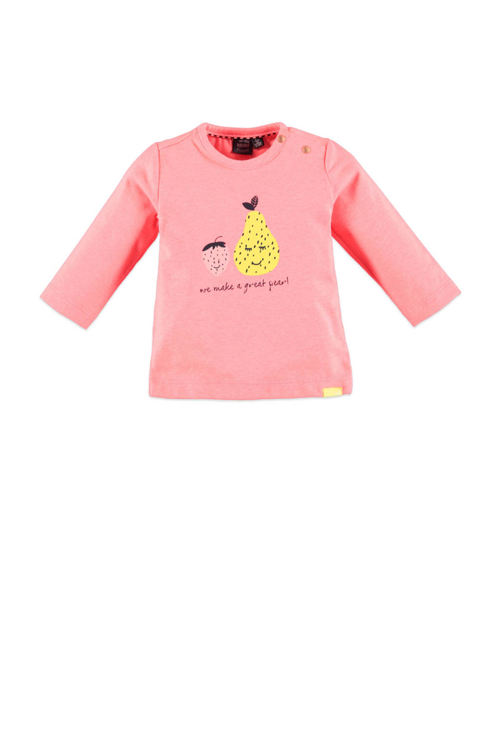 Babyface baby longsleeve met printopdruk roze/geel/zwart, Roze/geel/zwart