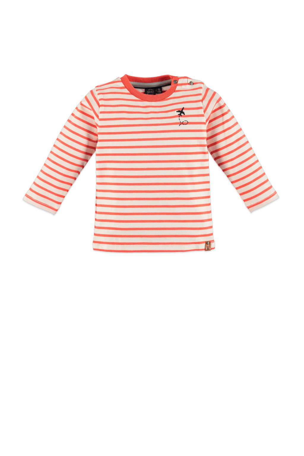 Babyface gestreepte longsleeve oranjerood/ecru, Oranjerood/ecru