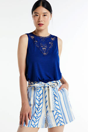 high waist straight fit short Dicthe met all over print blauw/wit