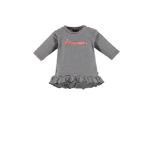 Babyface jersey jurk met tekst en ruches donkerbla