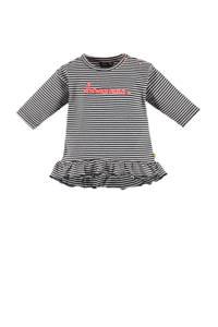 Babyface jersey jurk met tekst en ruches donkerblauw/wit/roze, Donkerblauw/wit/roze
