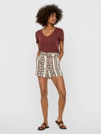 VERO MODA high waist straight fit short Dicthe met all over print bruin/wit, Bruin/wit