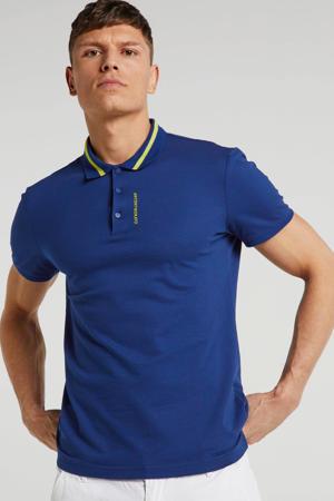 regular fit polo met tekst blauw/geel