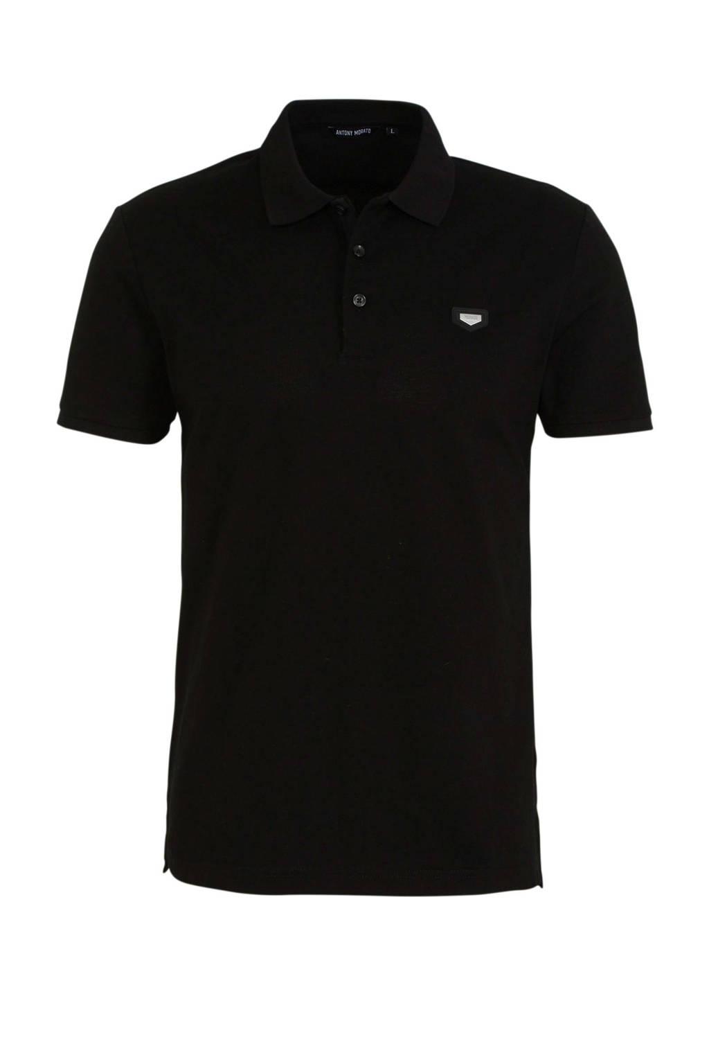 Antony Morato slim fit polo met logo zwart, Zwart