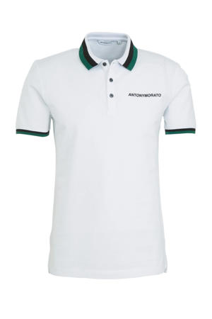 regular fit polo wit/groen/zwart