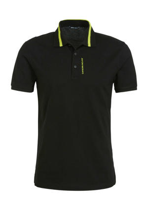 regular fit polo met tekst zwart/geel