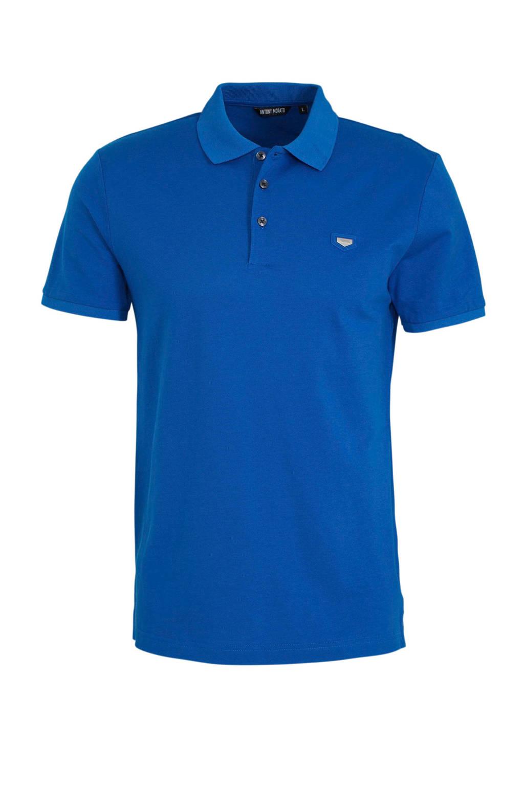 Antony Morato slim fit polo blauw, Blauw