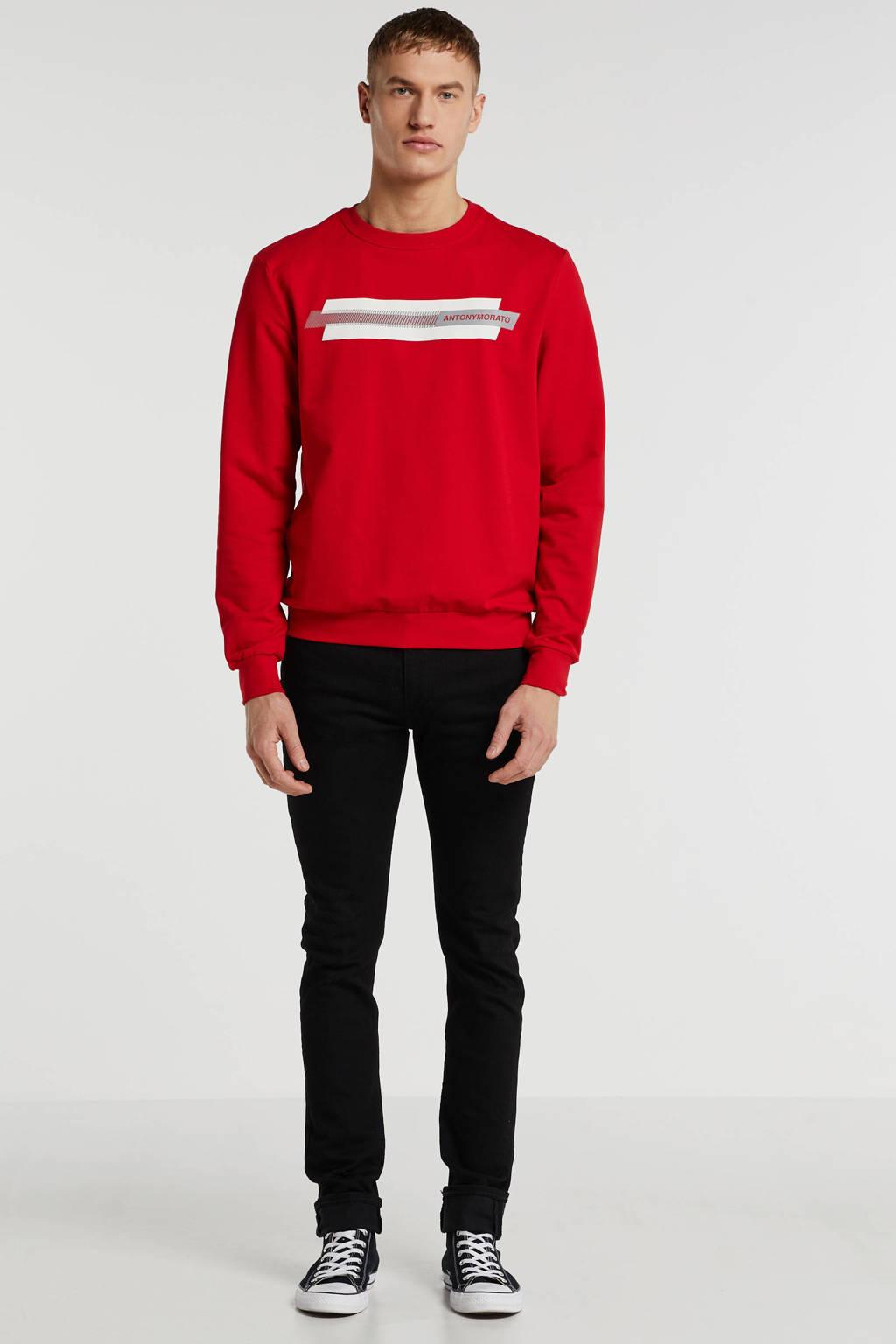 Antony Morato sweater met logo rood, Rood