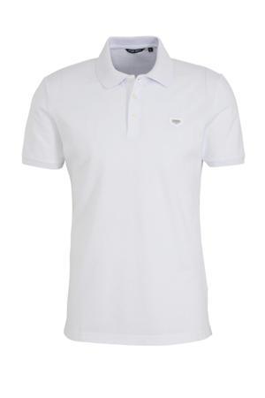 slim fit polo met logo wit