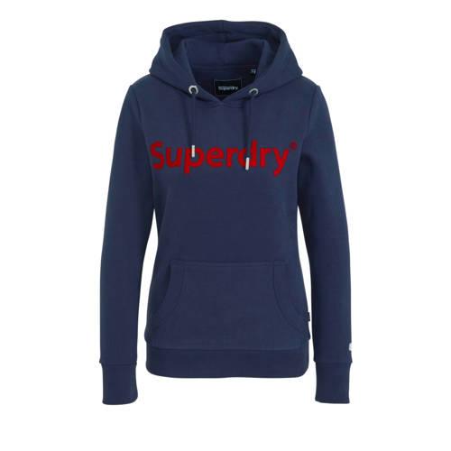 Superdry hoodie Reg Flock met logo donkerblauw
