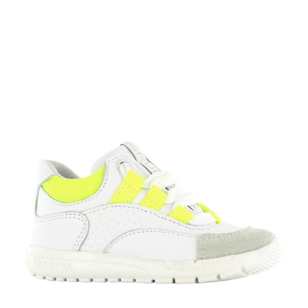 Shoesme  RF20S010-A leren sneakers wit/neon geel, Wit/limegroen