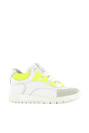 RF20S010-A leren sneakers wit/neon geel