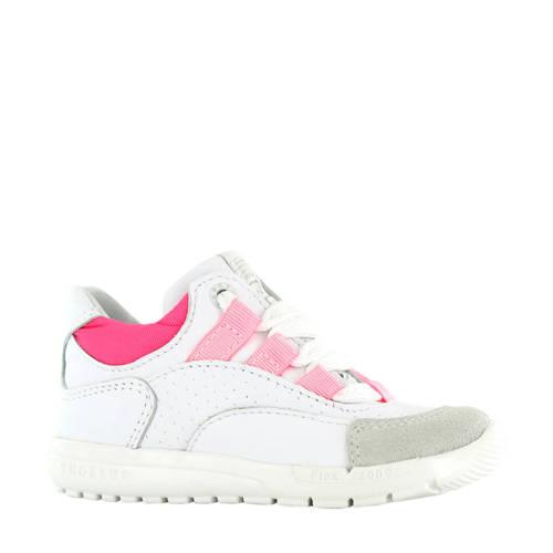 Shoesme RF20S010-B leren sneakers wit/neon roze