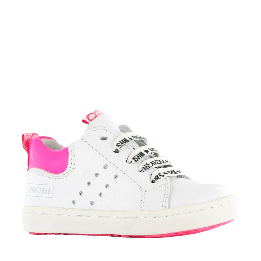 Shoesme UR20S017-M  leren sneakers wit/roze, Wit/roze