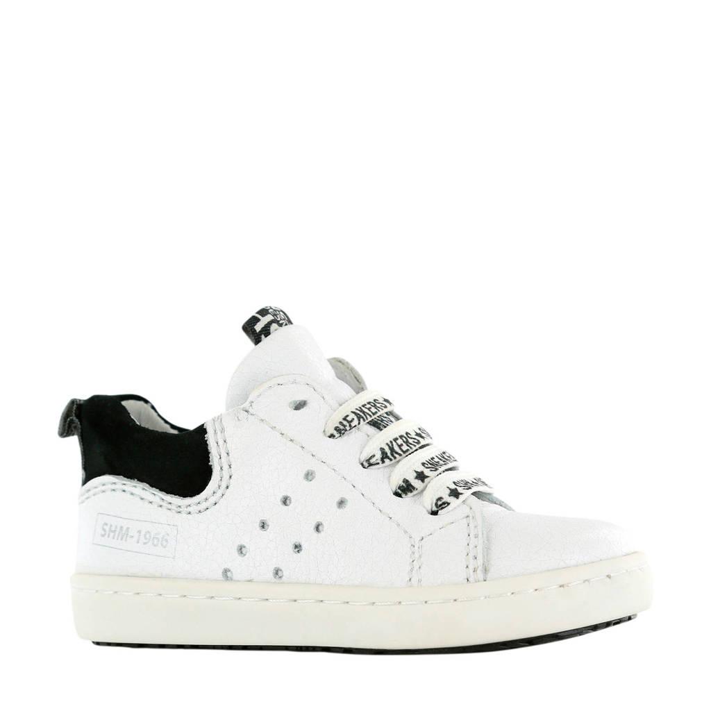 Shoesme UR20S017-I  leren sneakers wit/zwart, Wit/zwart