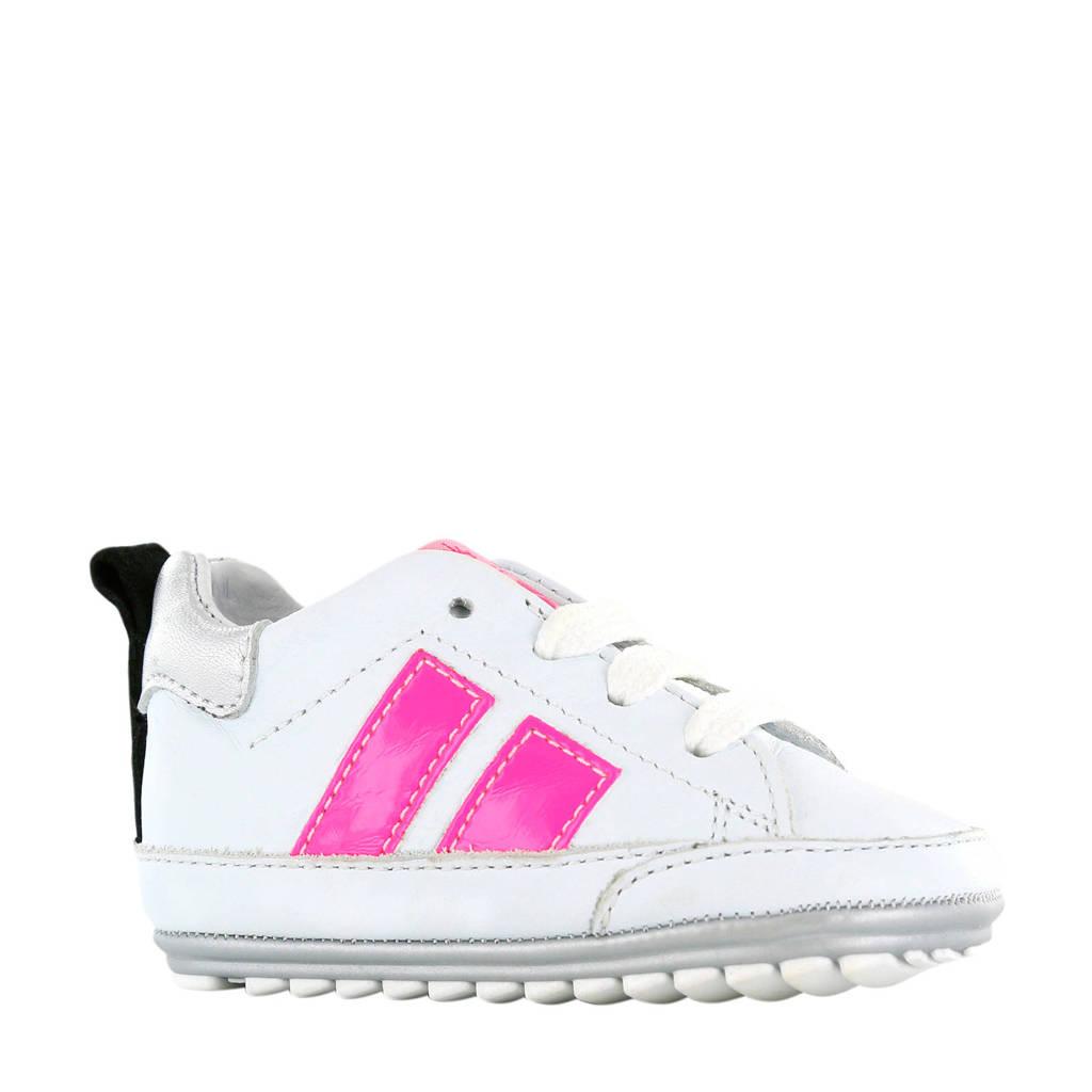 Shoesme BP20S024-K  leren sneakers wit/roze, Wit/roze