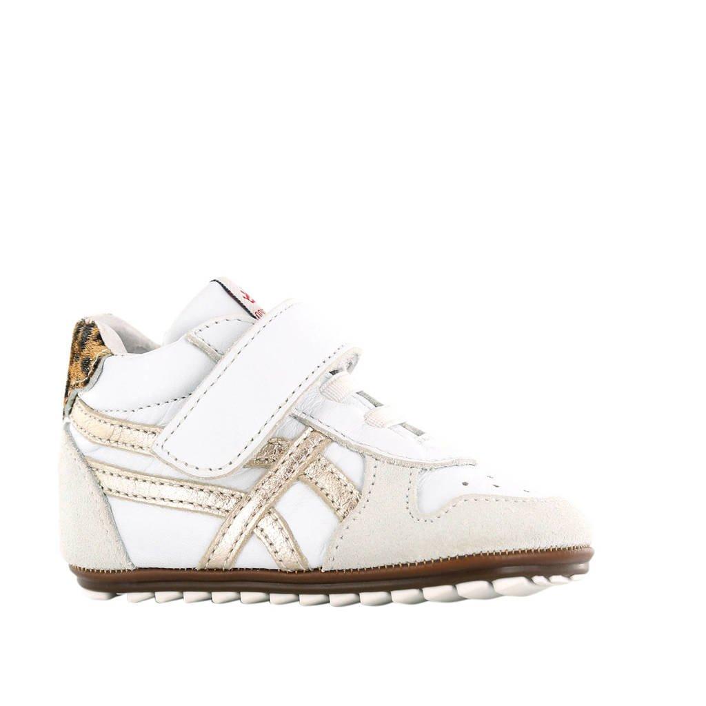 Shoesme BP20S008-D  leren sneakers wit/goud, Wit/goud
