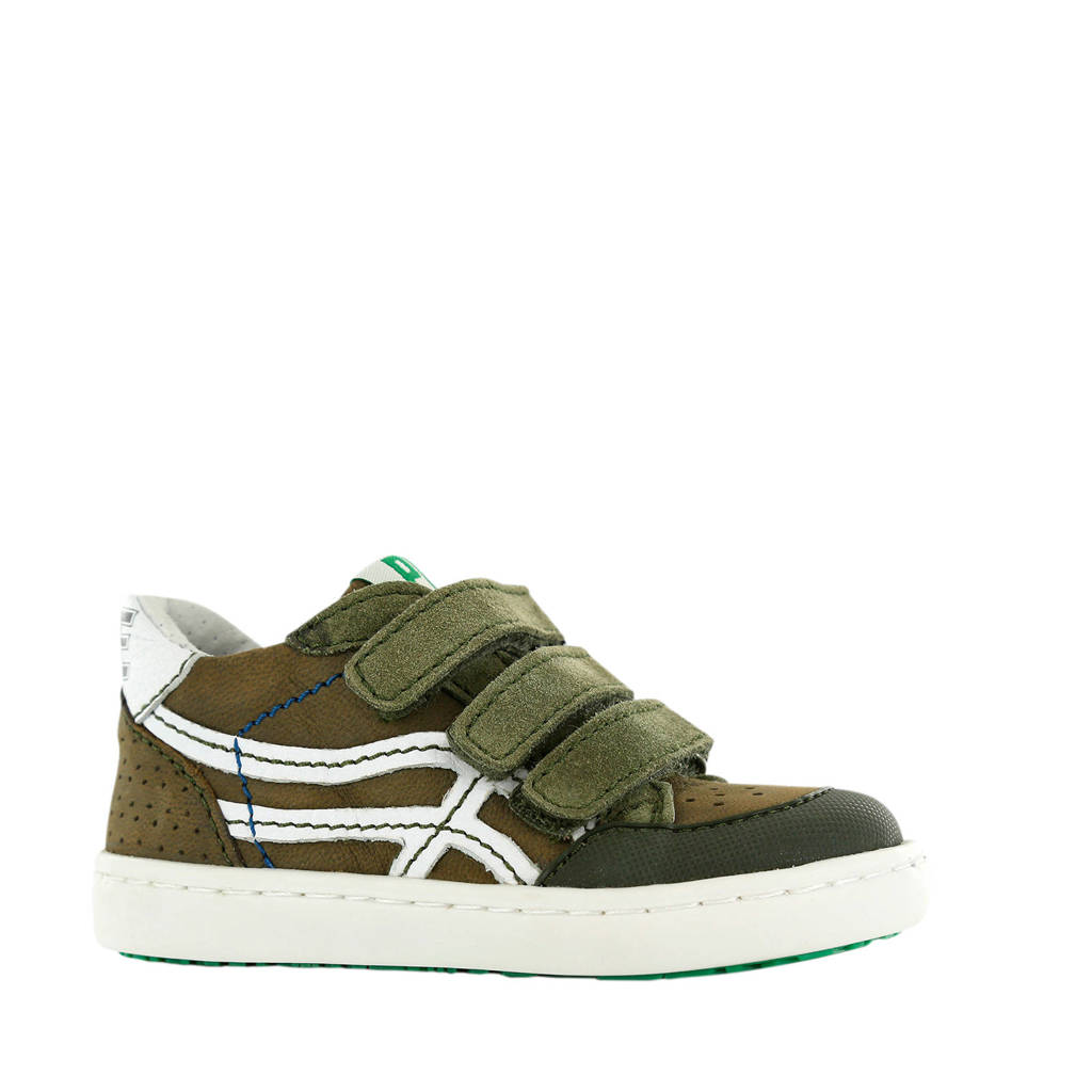 Shoesme UR20S016-A  leren sneakers groen, Groen/wit