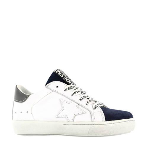 Shoesme VU20S022-C leren sneakers wit/blauw