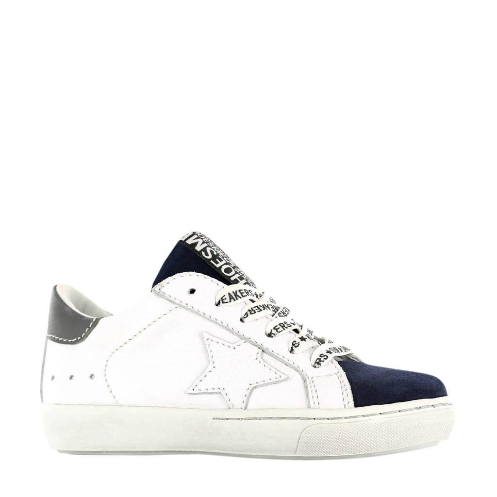 Shoesme VU20S022-C  leren sneakers wit/blauw, Wit/blauw