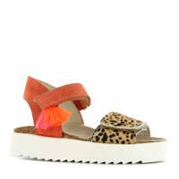 Shoesme  RA9S068-I  suède sandalen rood/cheetahprint, Koraalrood/Bruin