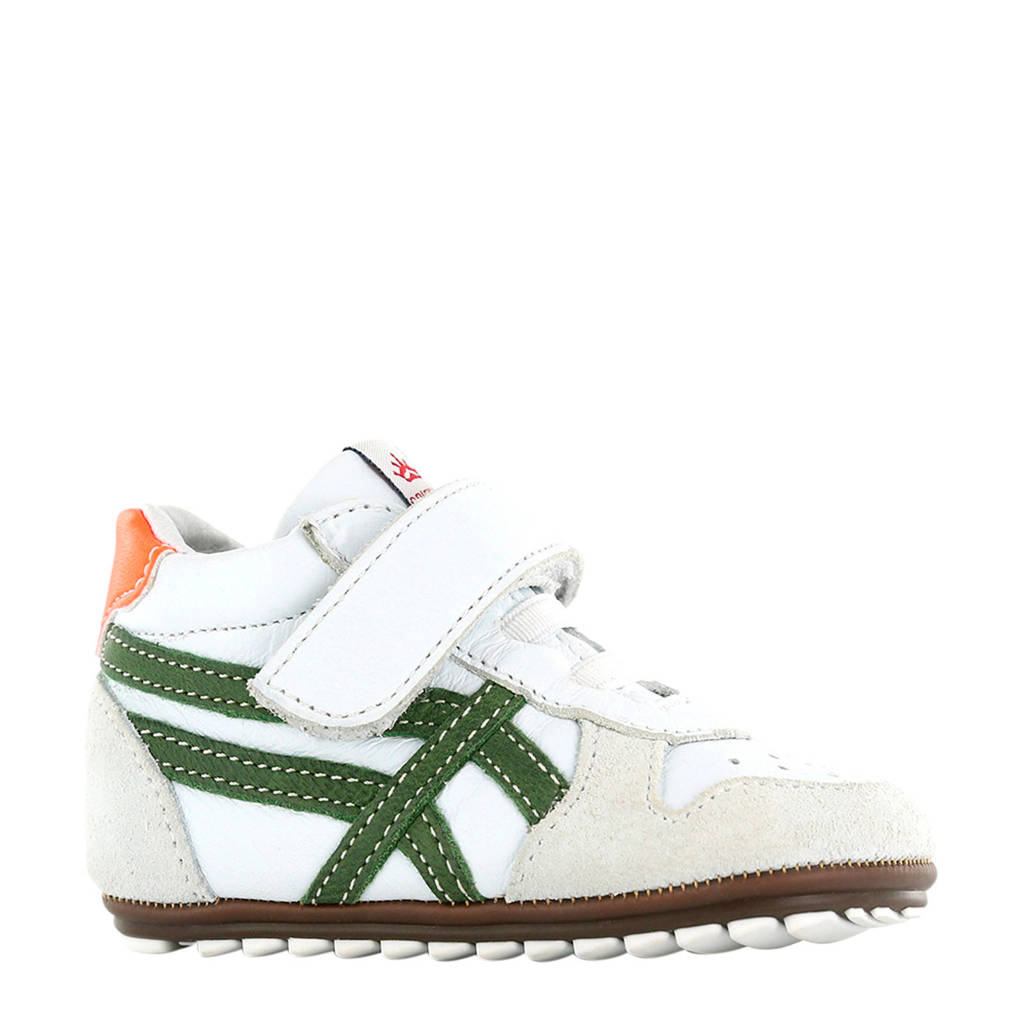 Shoesme BP20S008-A  leren sneakers wit/groen, Wit/groen