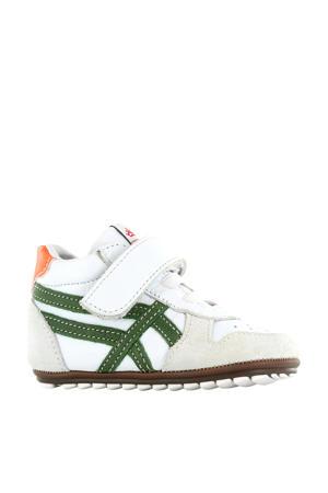 BP20S008-A  leren sneakers wit/groen