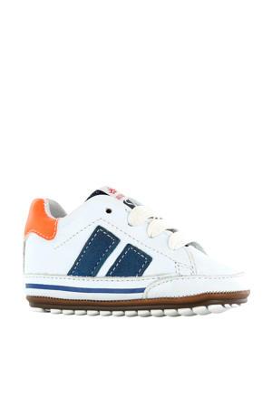 BP20S024-G  leren sneakers wit/blauw
