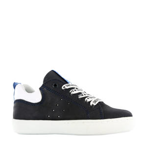VU20S023-C  leren sneakers donkerblauw
