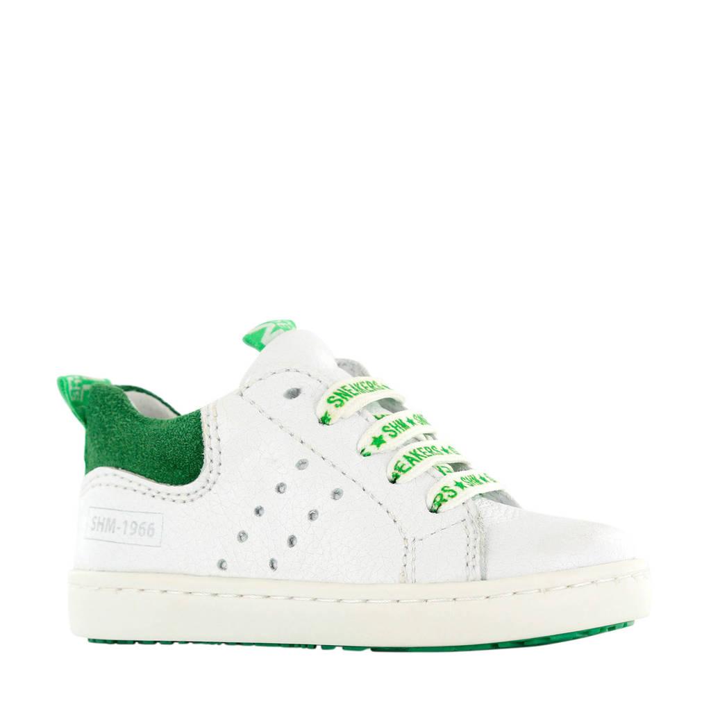 Shoesme UR20S017-J  leren sneakers wit/groen, Wit/groen