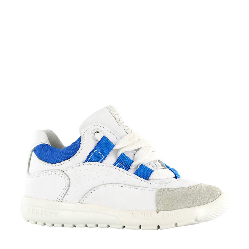 Shoesme  RF20S010-C leren sneakers wit/kobalt, Wit/blauw