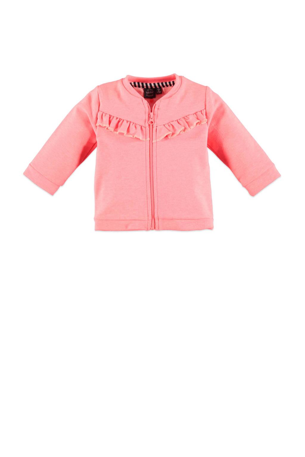 Babyface baby fleece vest en ruches roze, Roze