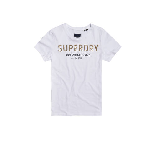 Superdry T-shirt met logo en pailletten wit