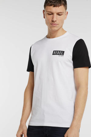T-shirt met printopdruk wit/zwart