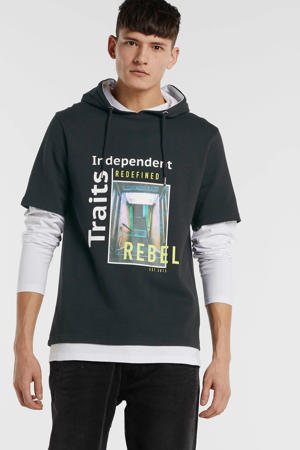 hoodie met printopdruk zwart/wit
