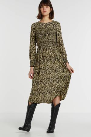 jurk met all over print geel/zwart