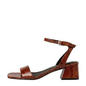 sandalettes slangenprint cognac
