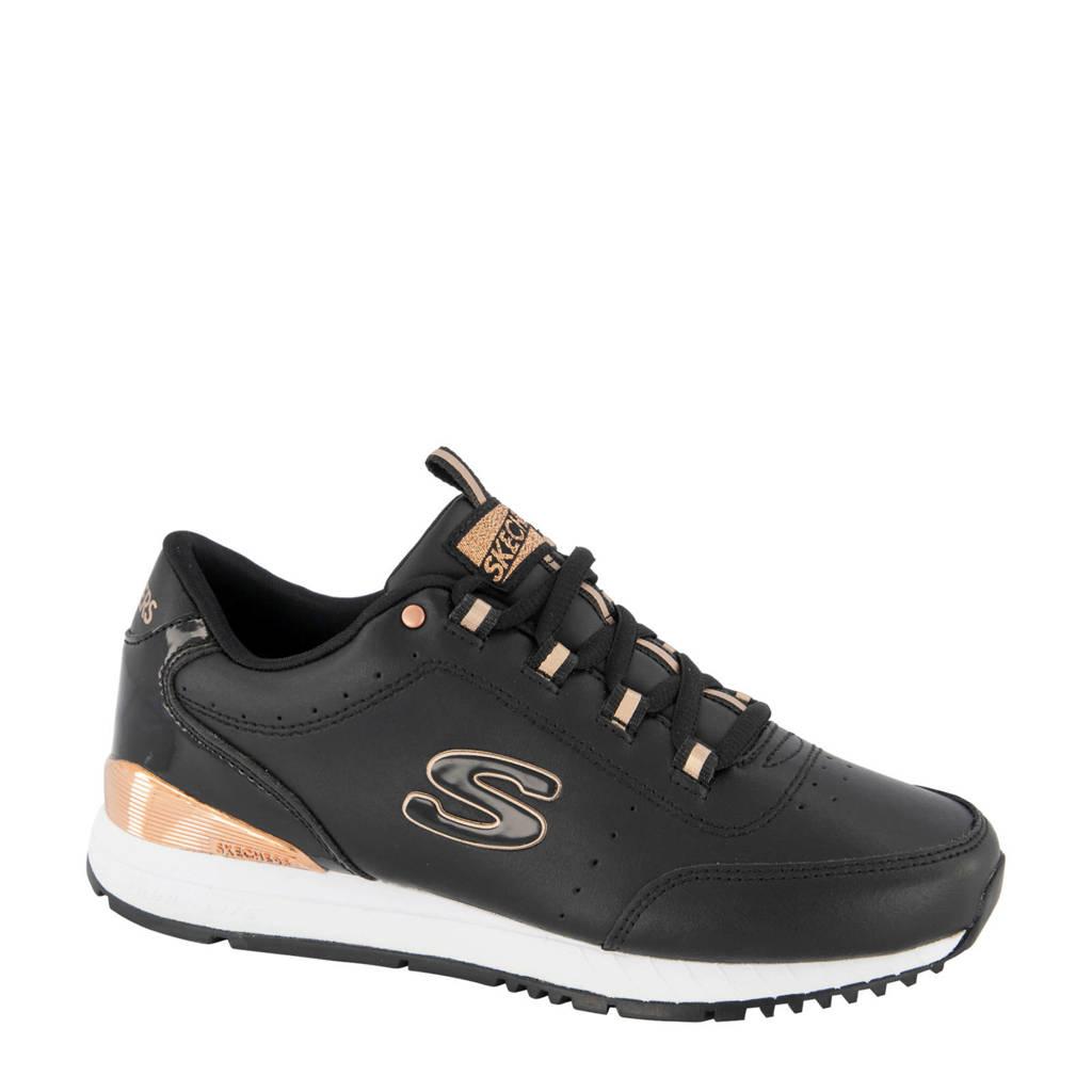 Skechers   leren sneakers zwart/goud, Zwart/goud