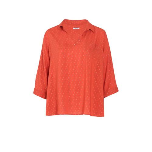 Paprika blouse met all over print oranje