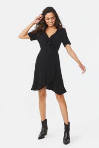 WE Fashion overslagjurk met volant zwart, Zwart