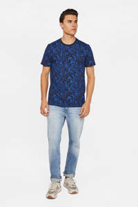 WE Fashion T-shirt met all over print blue butterfly, Blue Butterfly