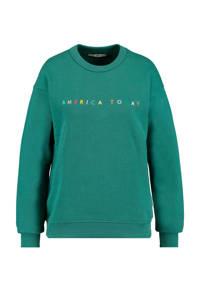 America Today fijngebreide sweater met tekst groen, Groen