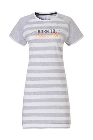 gestreept nachthemd met printopdruk grijs/wit