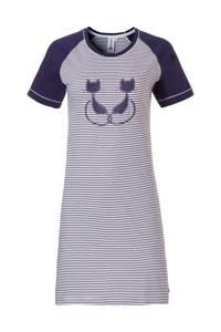 Rebelle nachthemd met printopdruk grijs/blauw, Blauw/wit