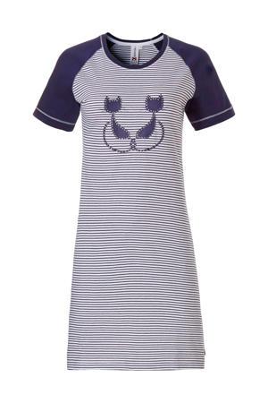 nachthemd met printopdruk grijs/blauw