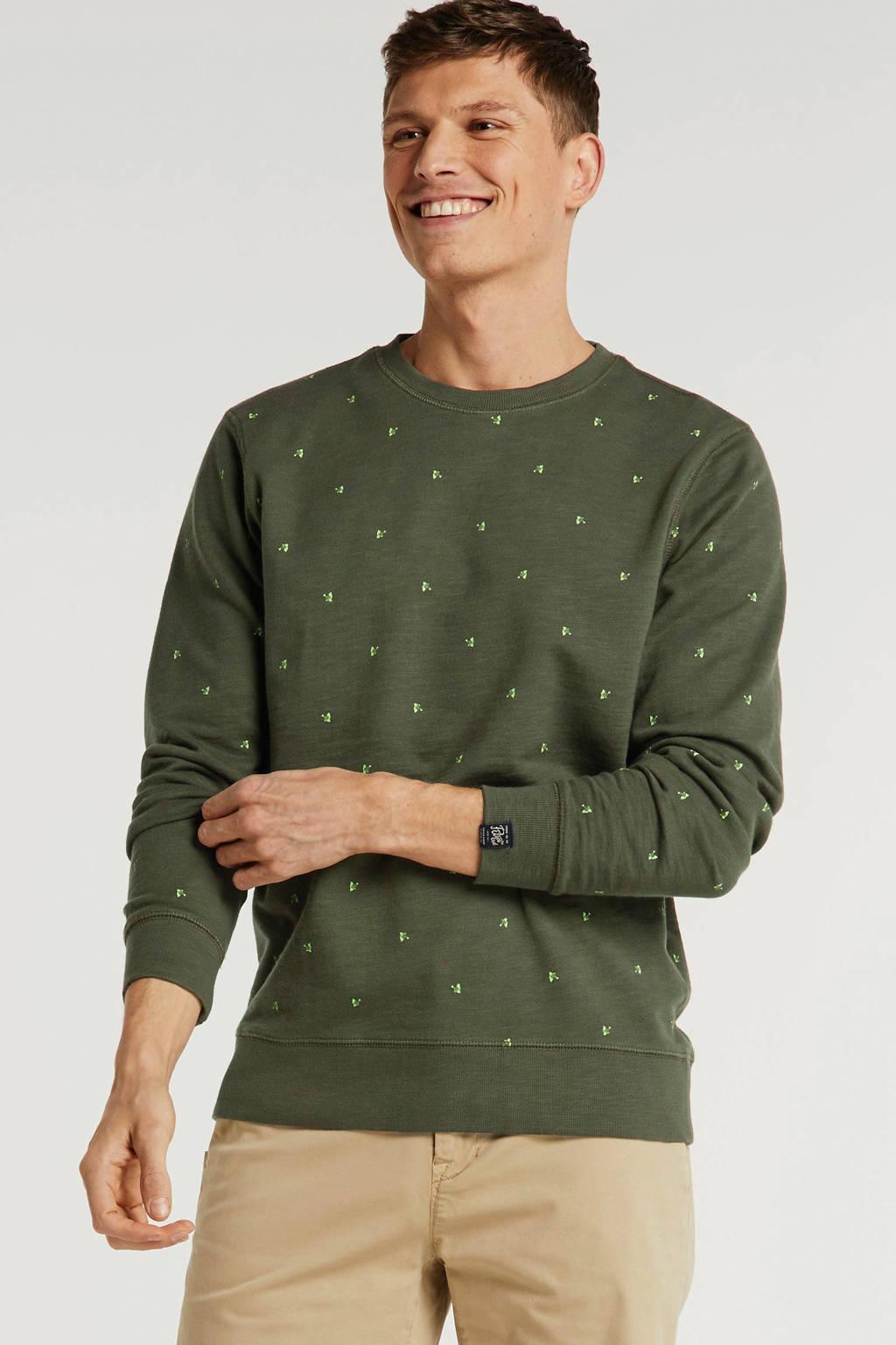 Petrol Industries sweater met all over print groen, Groen