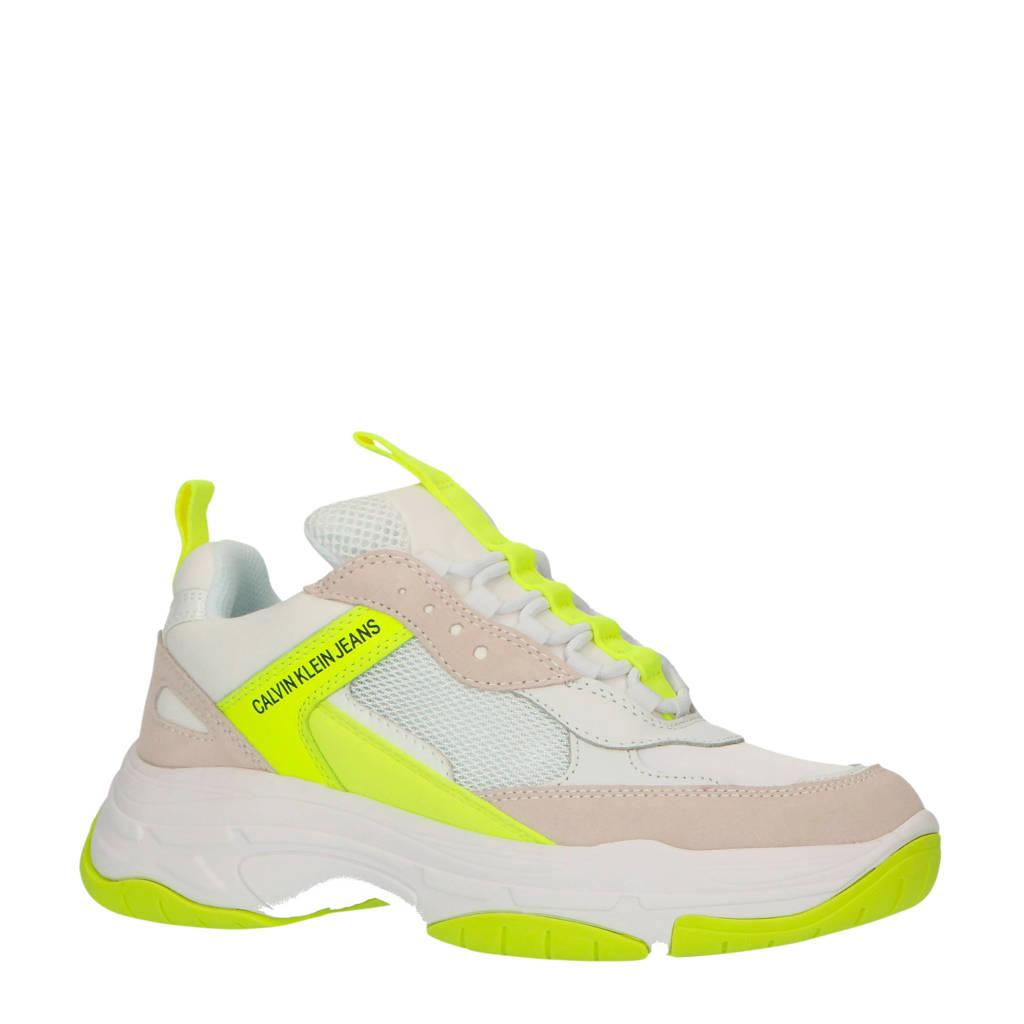 CALVIN KLEIN JEANS Maya  chunky sneakers wit/neon geel