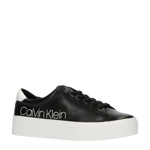 CALVIN KLEIN Janika leren plateau sneakers zwart